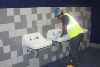 Pegula Center, Cleaning Bathroom